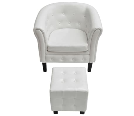 vidaxl fauteuil cabriolet avec repose pied cuir synth tique blanc. Black Bedroom Furniture Sets. Home Design Ideas