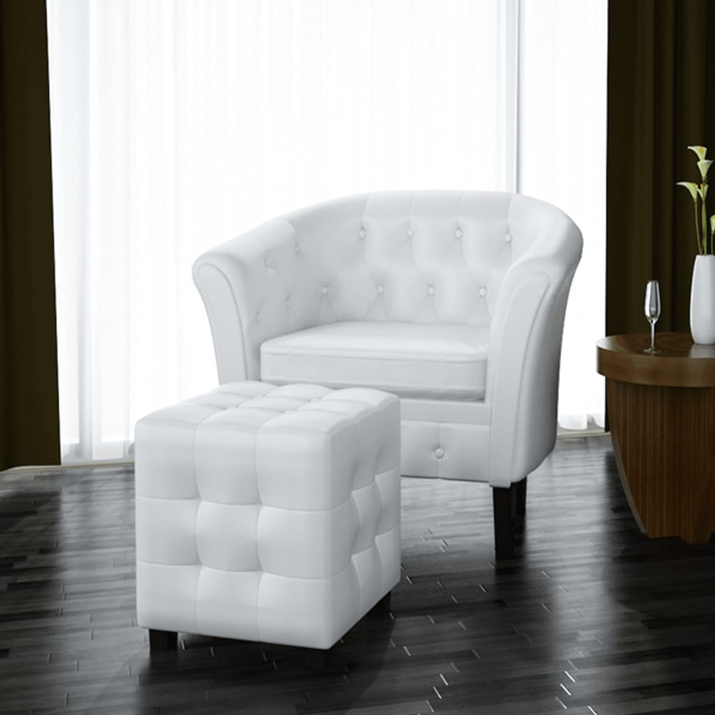 Chesterfield Armchair Footstool Leather White Arm Chair Lounge Seat ...