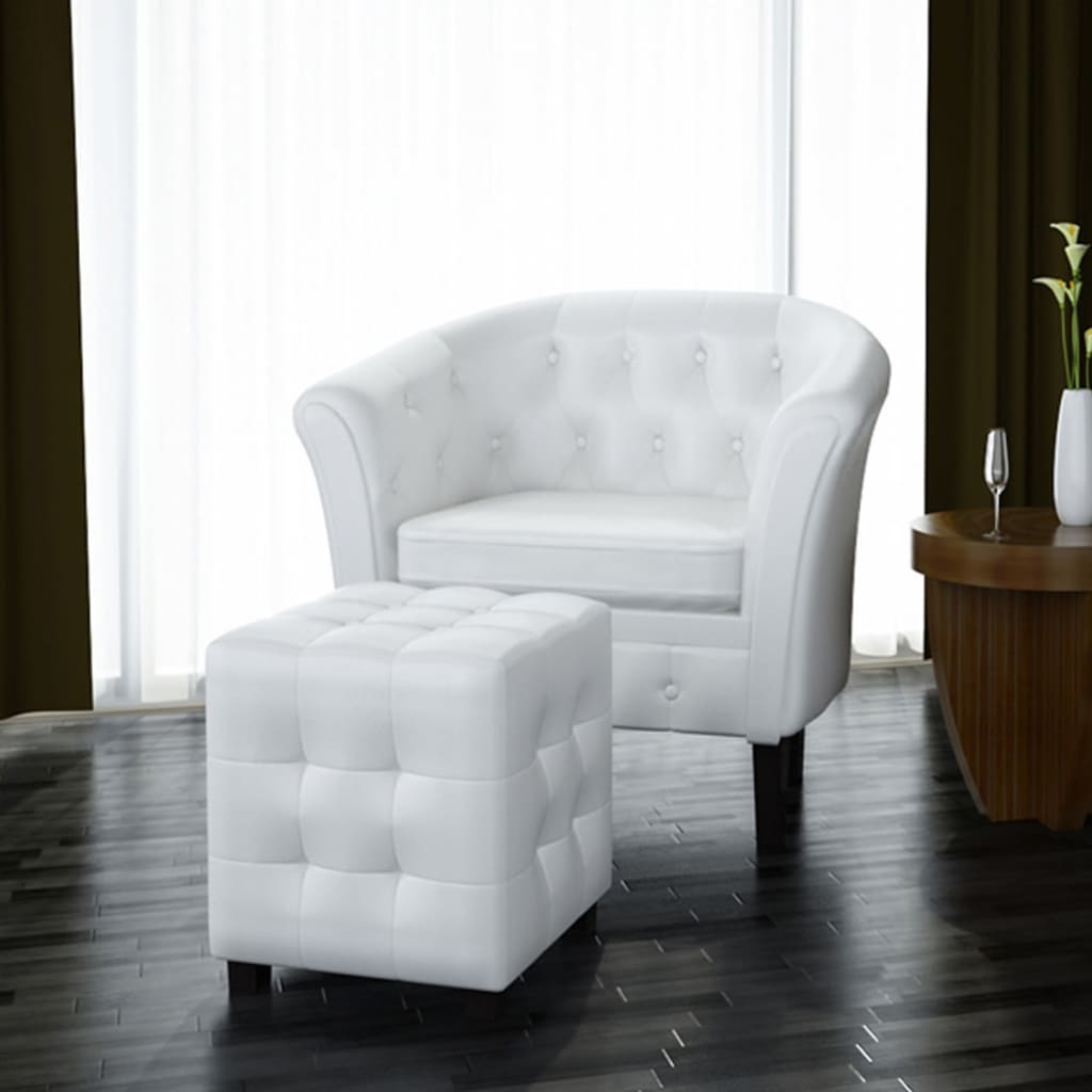 vidaxl fauteuil chesterfield bois simili cuir blanc capitonn avec tabouret ebay. Black Bedroom Furniture Sets. Home Design Ideas