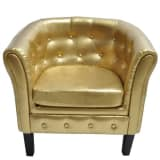 Chesterfield Leder Sessel goldfarbig