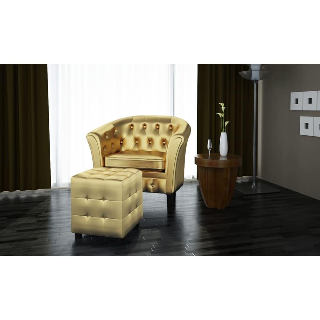 chesterfield leder sessel mit hocker goldfarbig im vidaxl trendshop. Black Bedroom Furniture Sets. Home Design Ideas