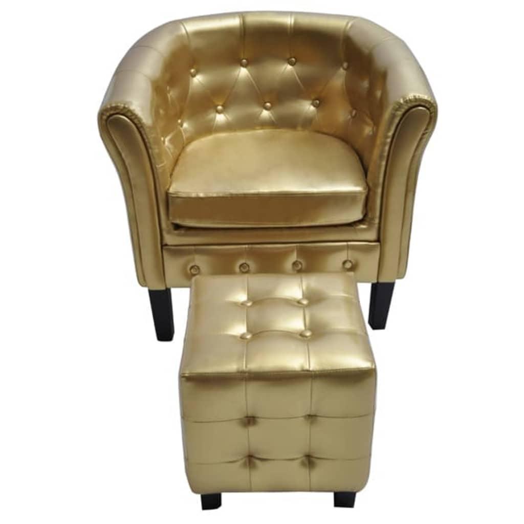 Der chesterfield leder sessel mit hocker goldfarbig online for Sessel mit hocker leder