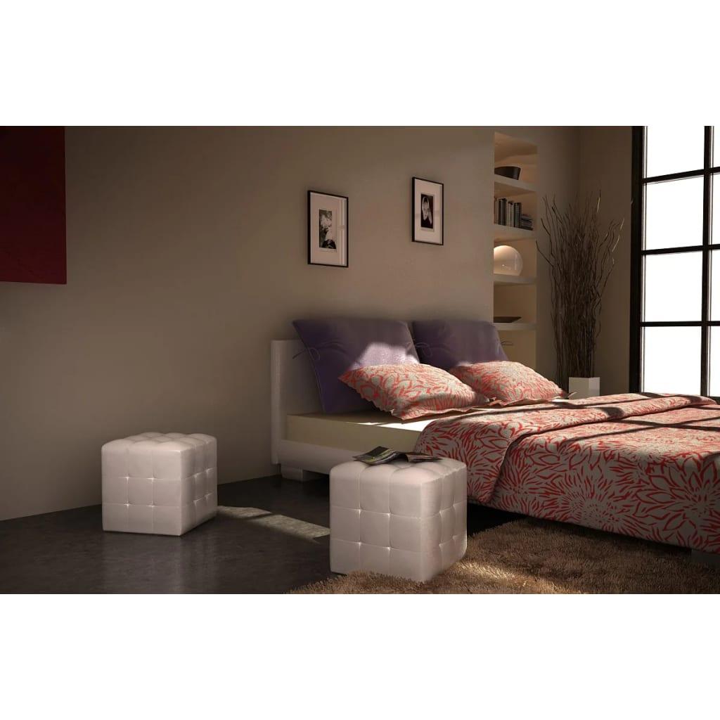 nachttisch sitzhocker 2er set 30x30x30 cm wei g nstig kaufen. Black Bedroom Furniture Sets. Home Design Ideas