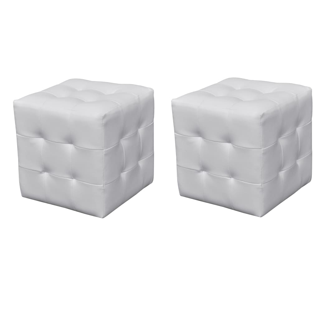 pouf blanc simili cuir comparer les prix avec. Black Bedroom Furniture Sets. Home Design Ideas