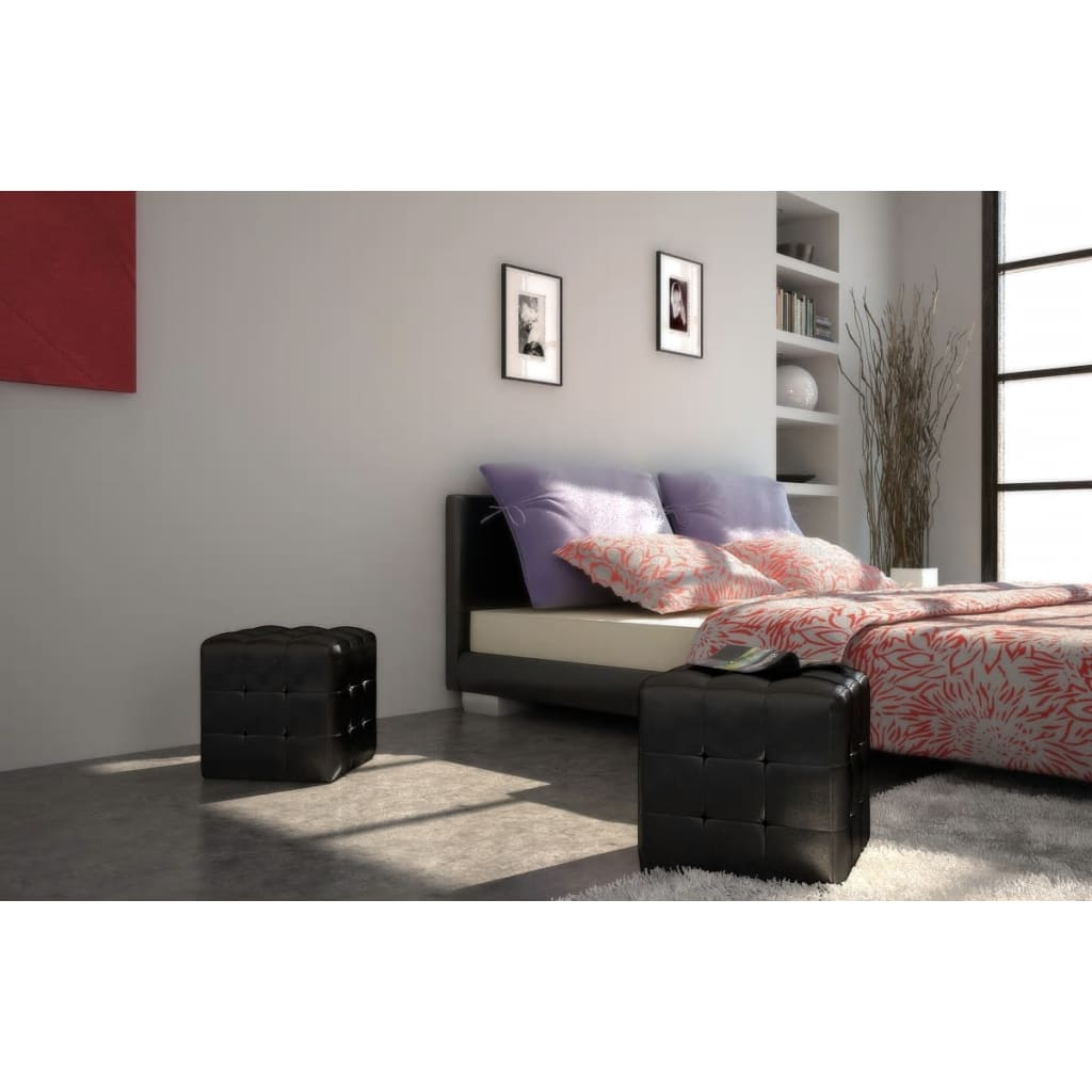 nachttisch nachtschrank 2er set 30x30x30 cm schwarz g nstig kaufen. Black Bedroom Furniture Sets. Home Design Ideas
