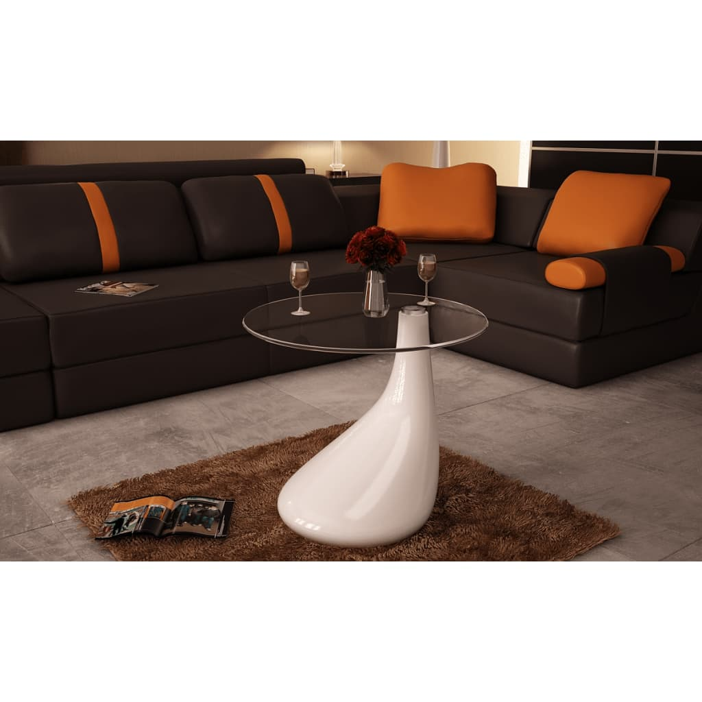 Modern Glass High Gloss White Coffee Table