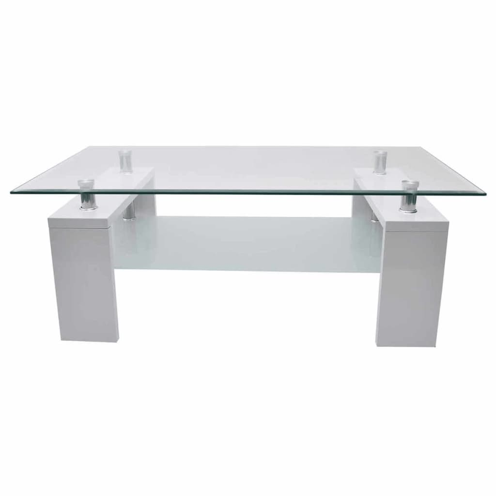 High Gloss Coffee Table Glass Tabletop Mdf Frame White