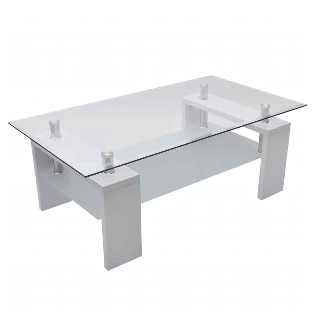 La boutique en ligne table basse de salon en verre et mdf blanc laqu vidax - Table basse en verre blanc ...