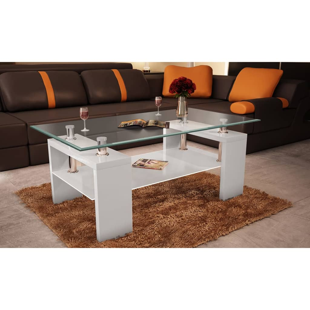 la boutique en ligne table basse de salon en verre et mdf blanc laqu. Black Bedroom Furniture Sets. Home Design Ideas