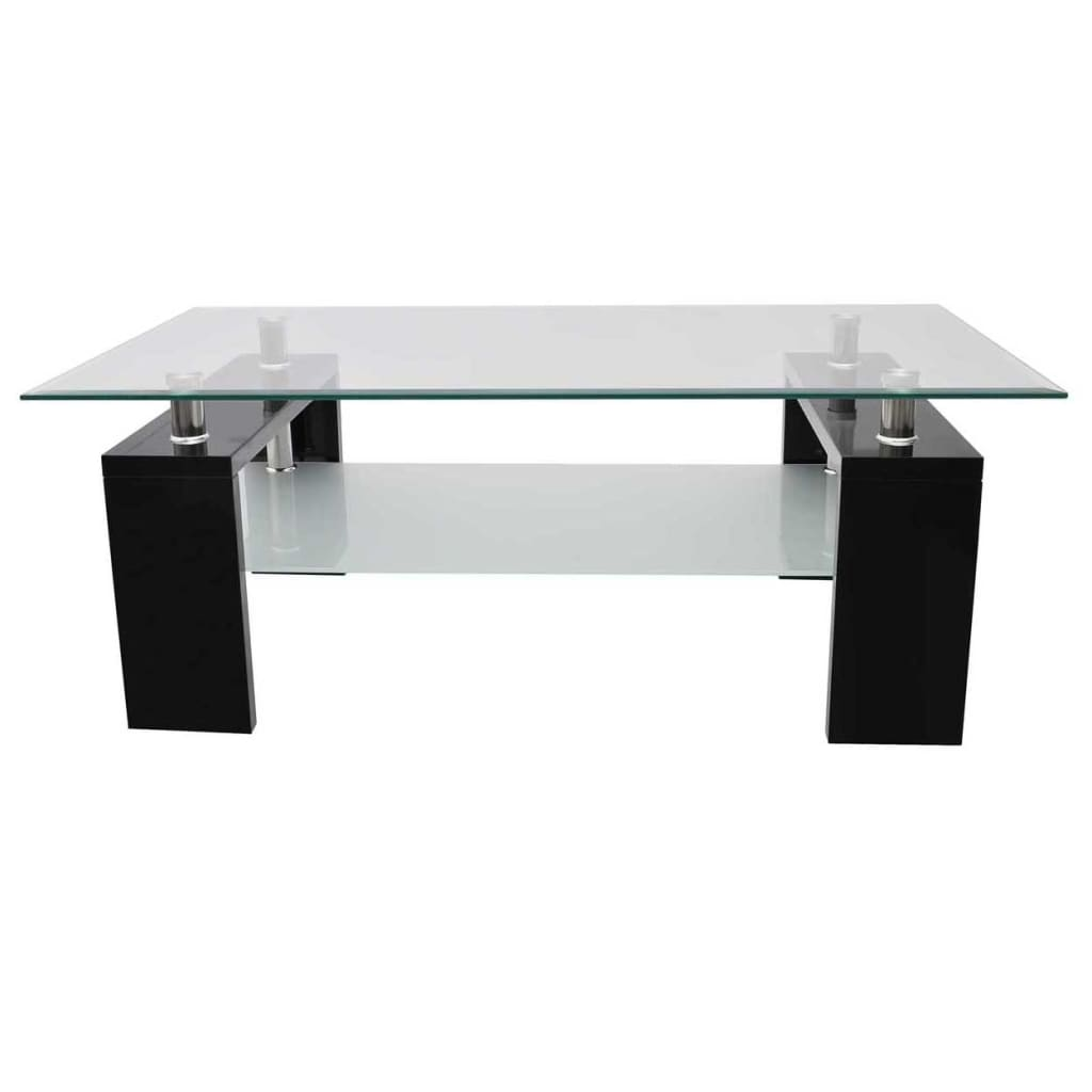 La boutique en ligne table basse de salon en verre et mdf noir laqu - Table basse salon en verre ...