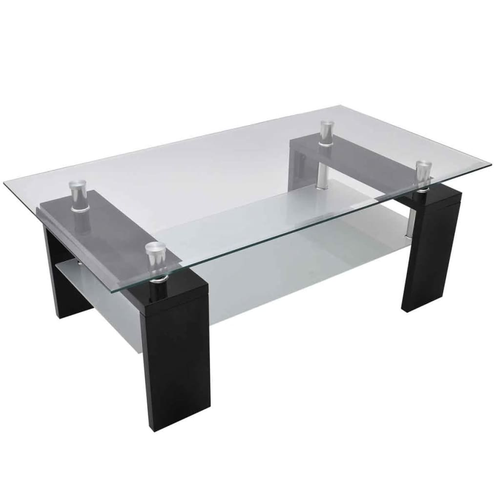 La boutique en ligne table basse de salon en verre et mdf noir laqu - Table salon en verre ...