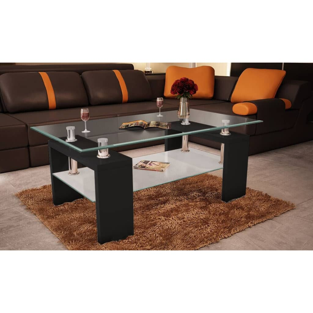 Table basse de salon carr e en verre et mdf 2 couleurs ebay - Table carree en verre ...
