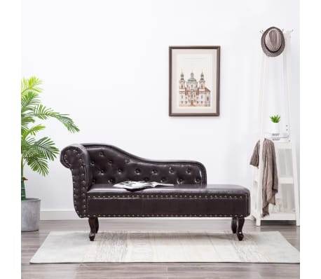 chaise longue chesterfield marrone. Black Bedroom Furniture Sets. Home Design Ideas