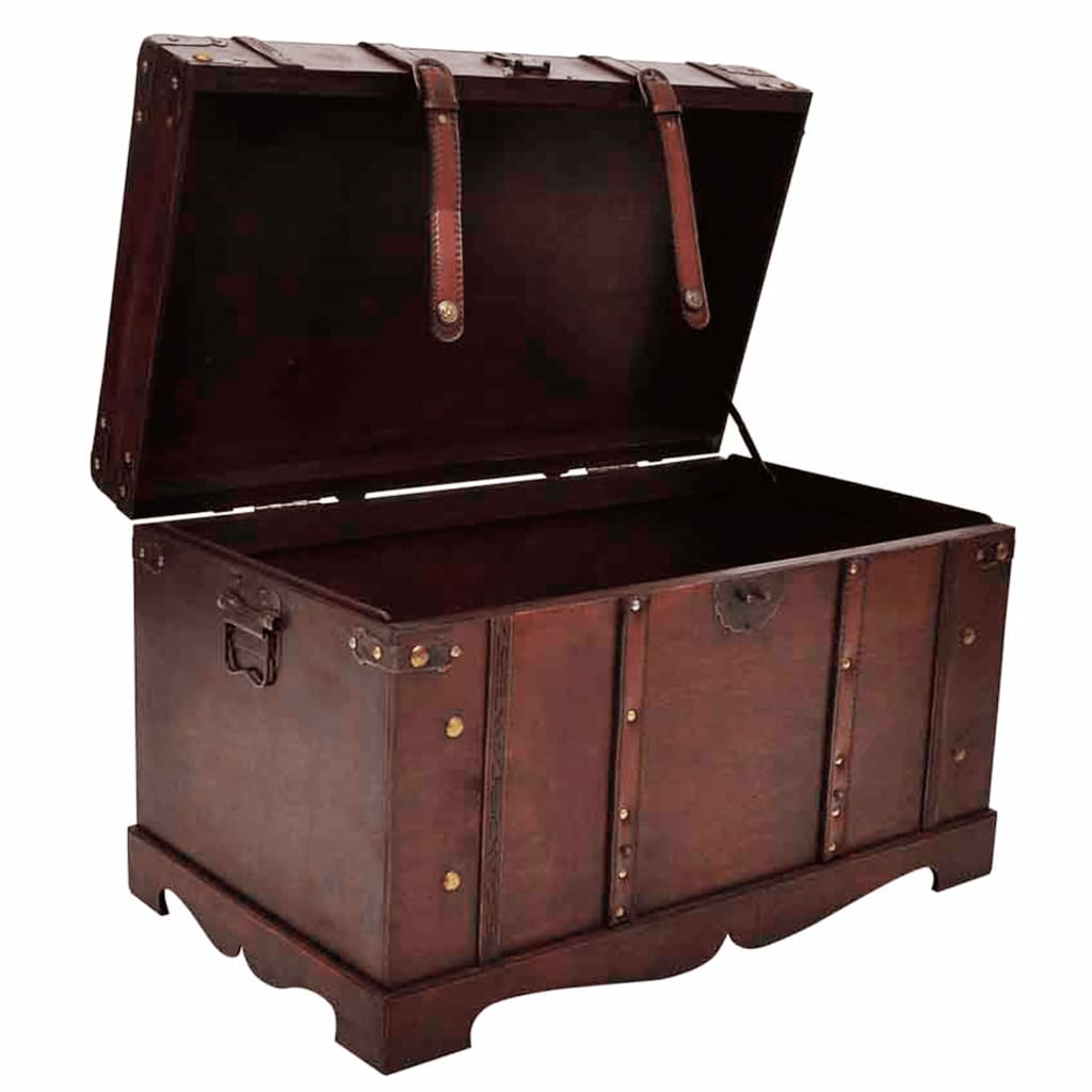 Vintage large chest wooden treasure box trunk storage for Storage treasures