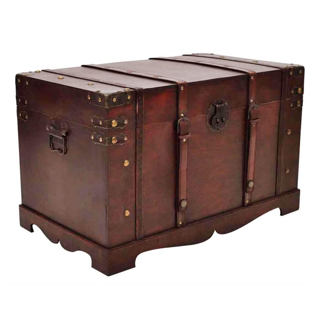 Vintage large wooden treasure chest vidaxl