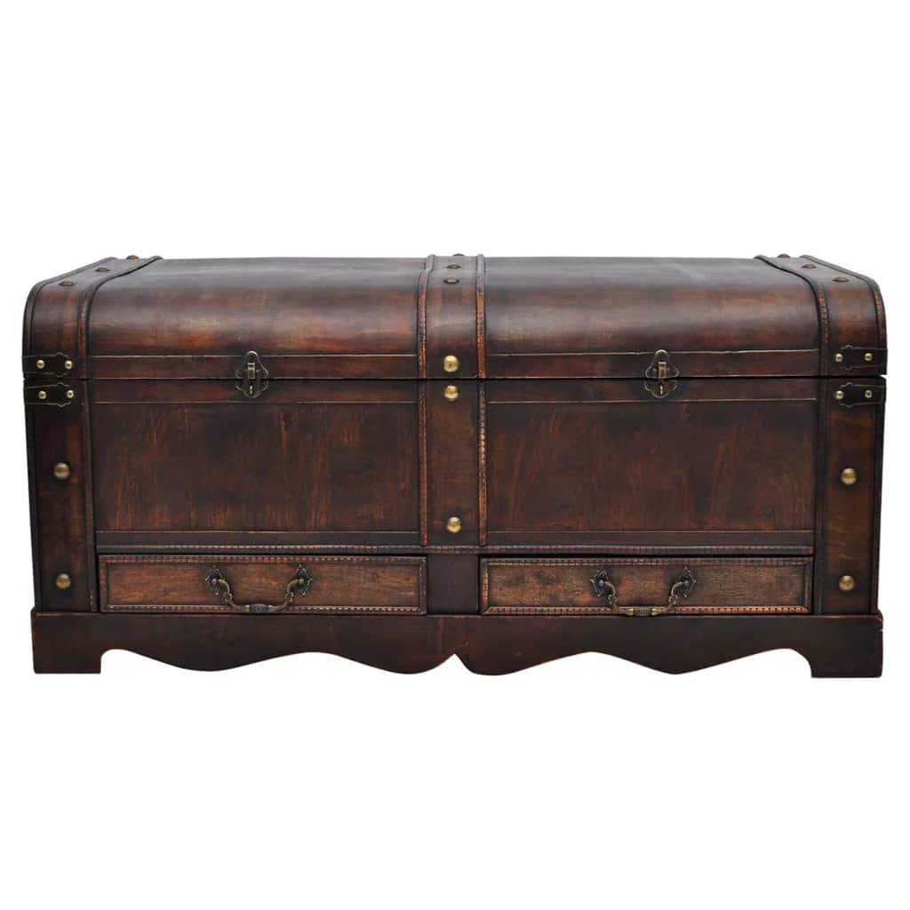 vintage large wooden treasure chest brown coffee table. Black Bedroom Furniture Sets. Home Design Ideas