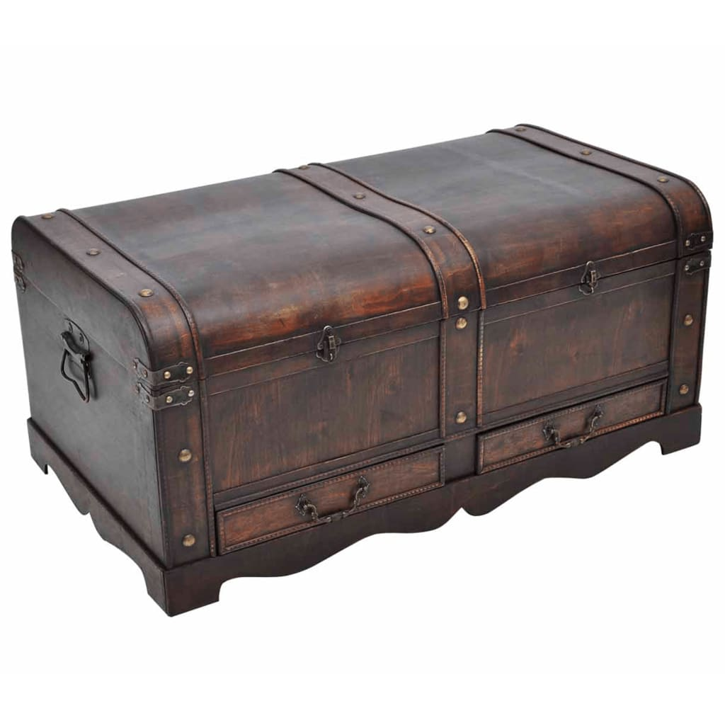 Vintage Large Wooden Treasure Chest Brown