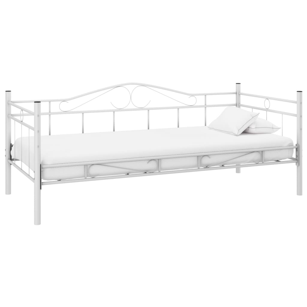 Single day bed metal 90 x 200 cm white for 90 cm sofa bed