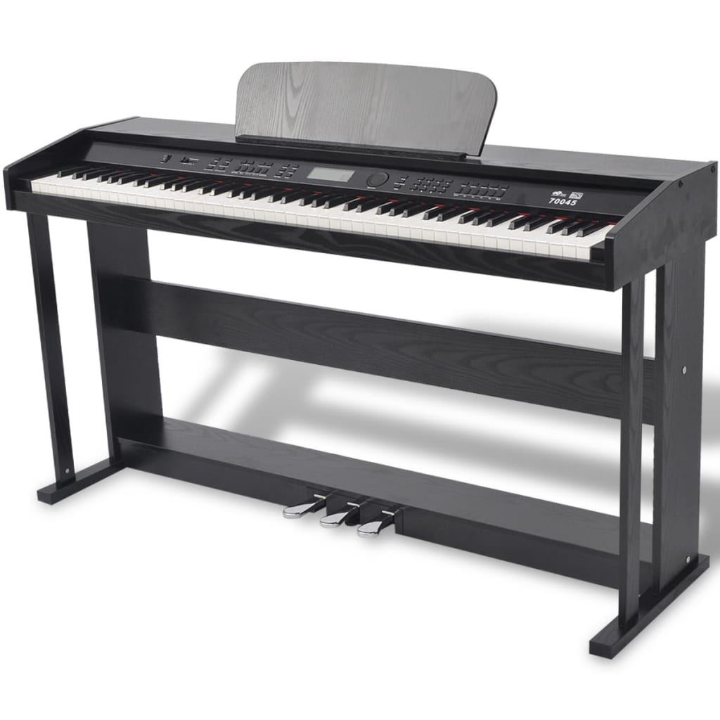 vidaxl 88 key digital piano with pedals black melamine board. Black Bedroom Furniture Sets. Home Design Ideas