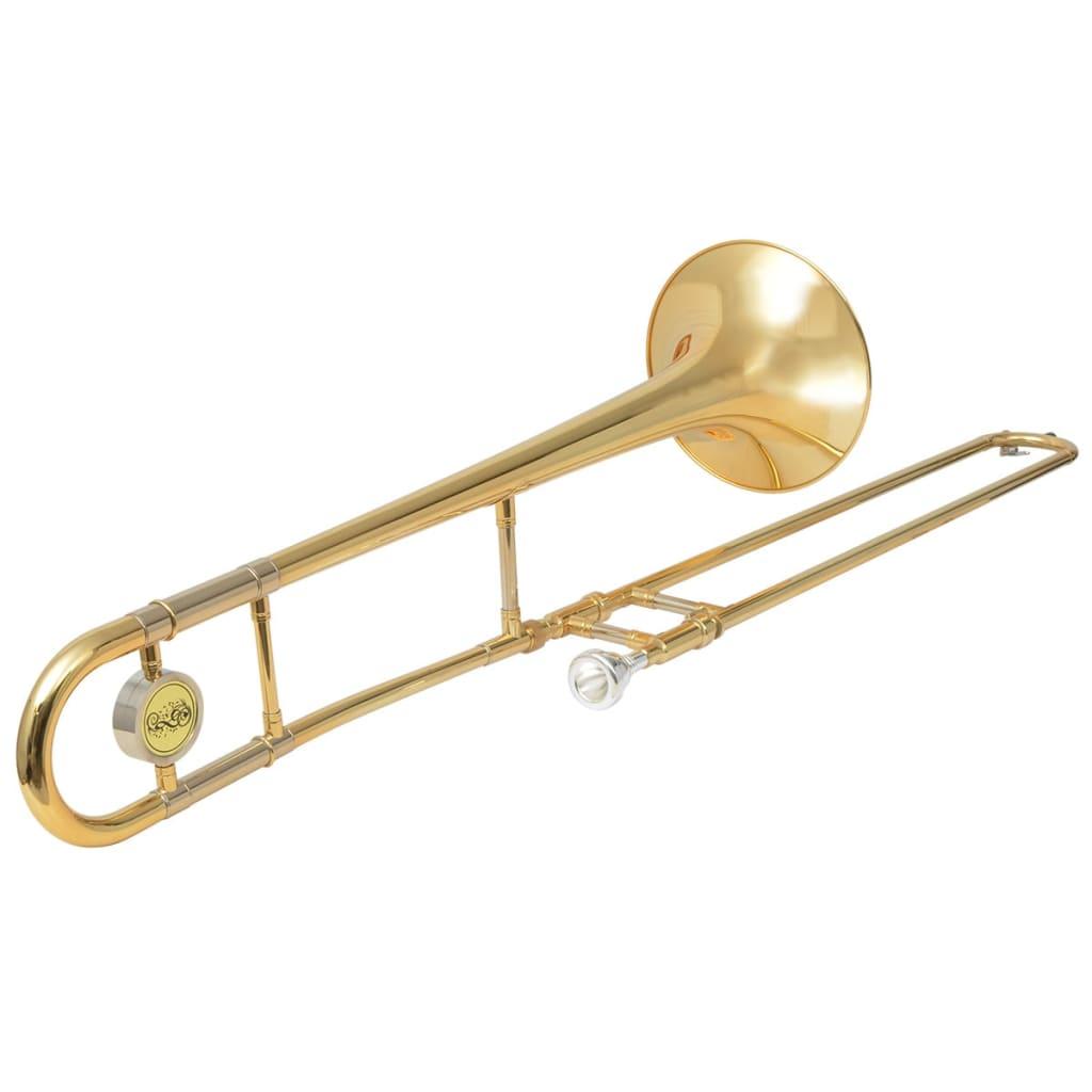 Afbeelding van vidaXL Trombone messing met goudlak Bb