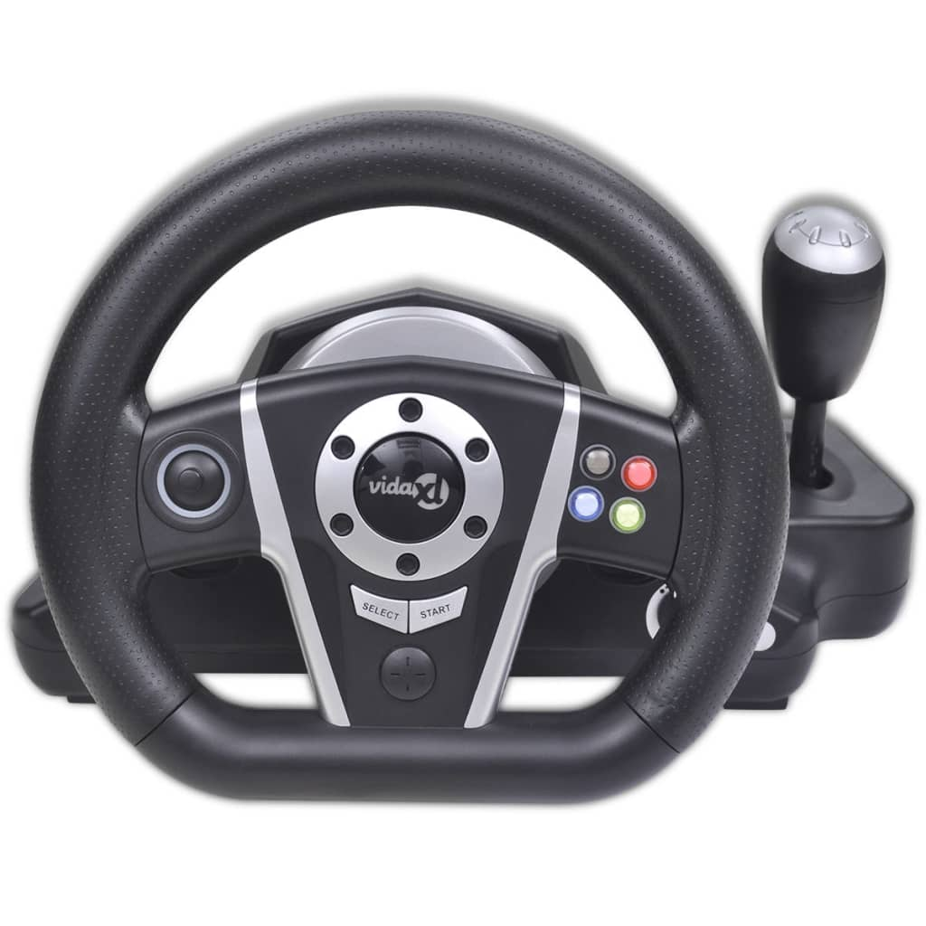 Gaming Racing Wheel For Ps2 Ps3 Pc Black Vidaxl Co Uk