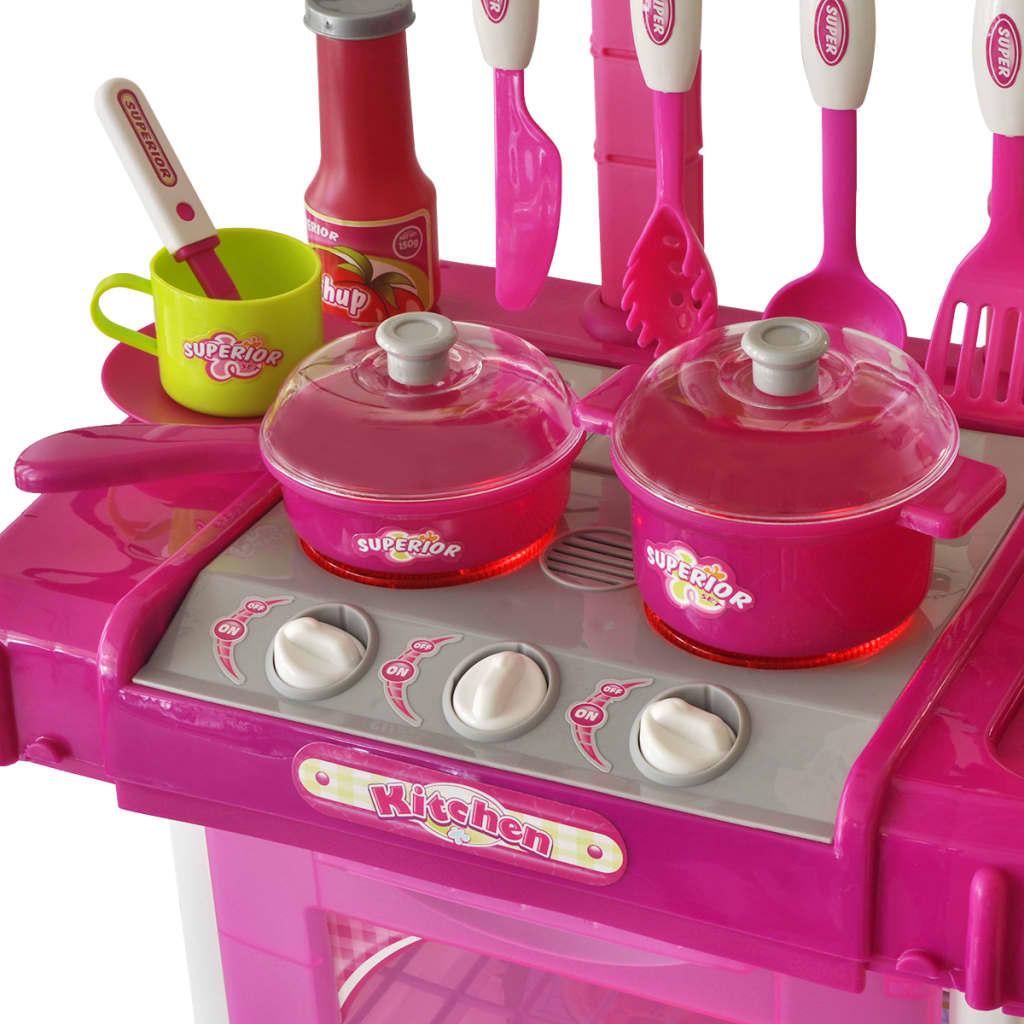 acheter cuisine jouet pour enfants avec effets lumineux sonores rose pas cher. Black Bedroom Furniture Sets. Home Design Ideas