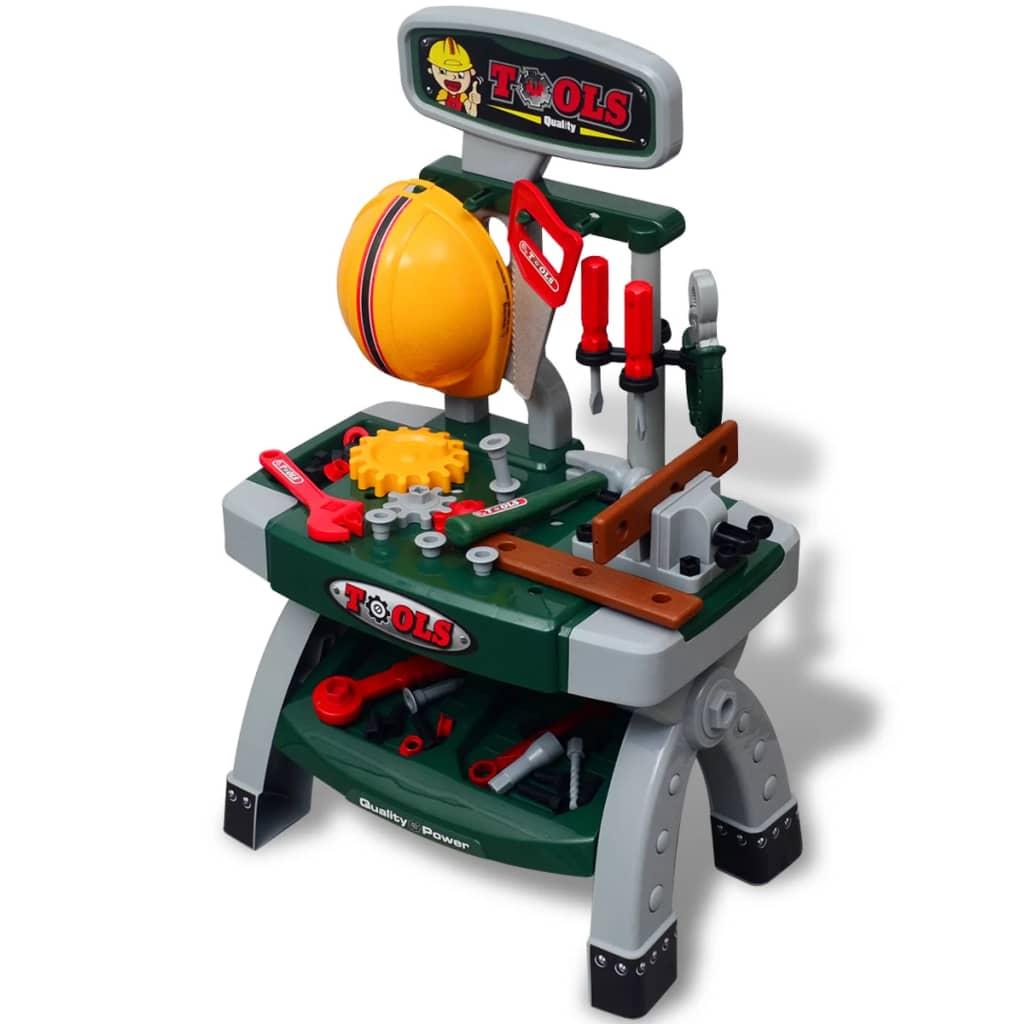 vidaXL Gyerek játék munkaasztal szerszámokkal zöld + szürke