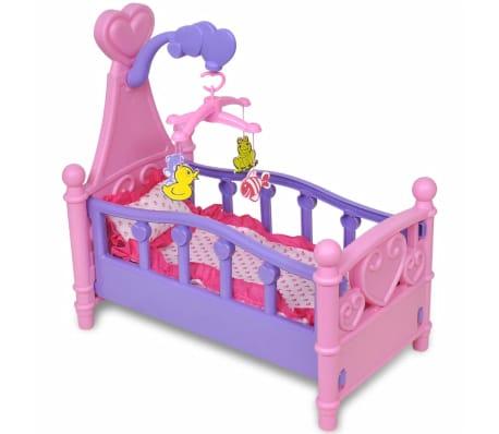 Poppenbed voor kinderen kinderkamer roze + paars poppen bed speelgoed ...