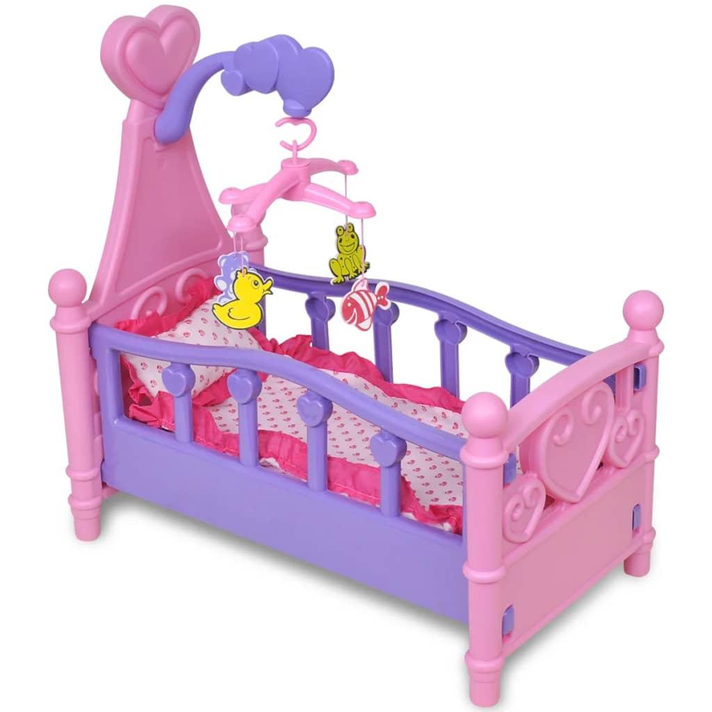 vidaXL Gyerek játék babaágy rózsaszín + lila