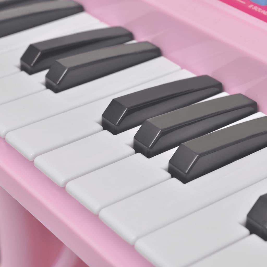 Piano de juguete de 37 teclas con taburete micr fono para ni os rosa - Taburete ninos ...
