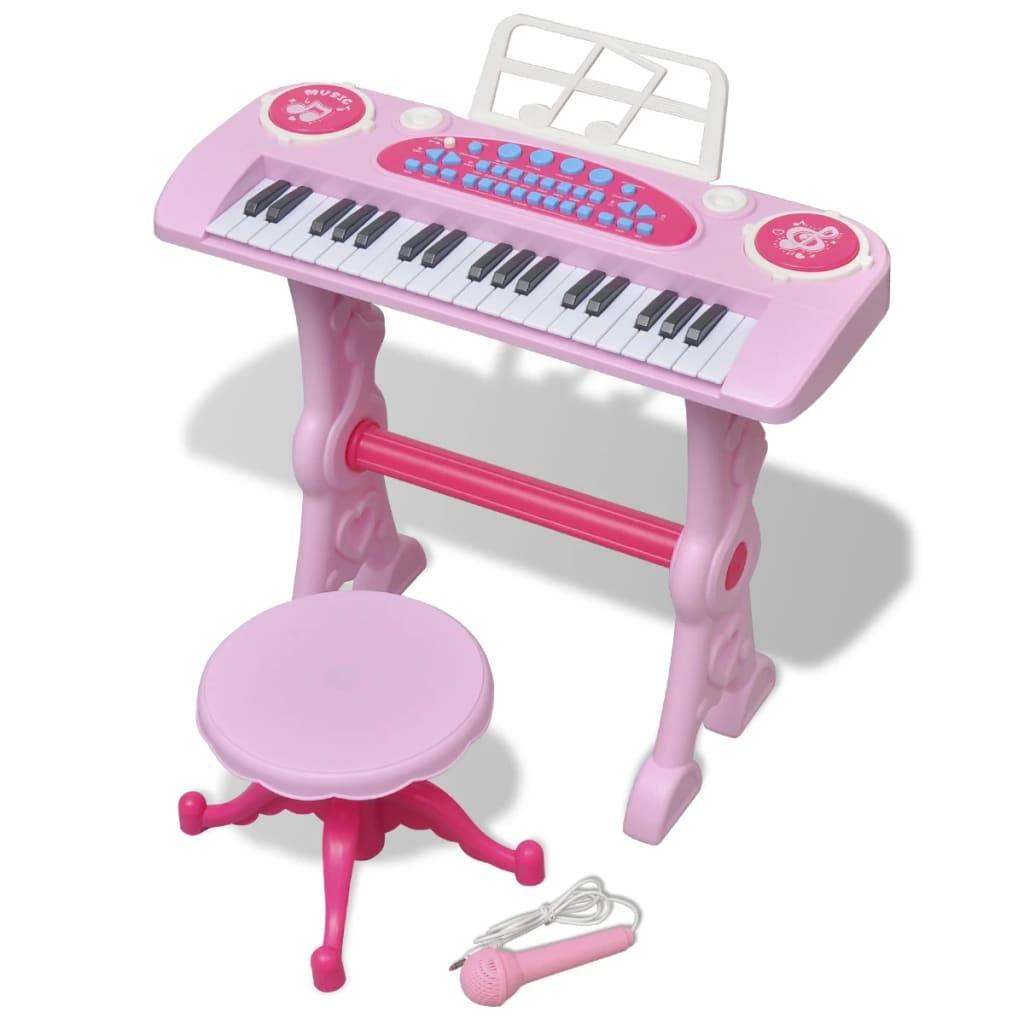 acheter piano avec 37 touches et tabouret microphone jouet pour enfants rose pas cher. Black Bedroom Furniture Sets. Home Design Ideas