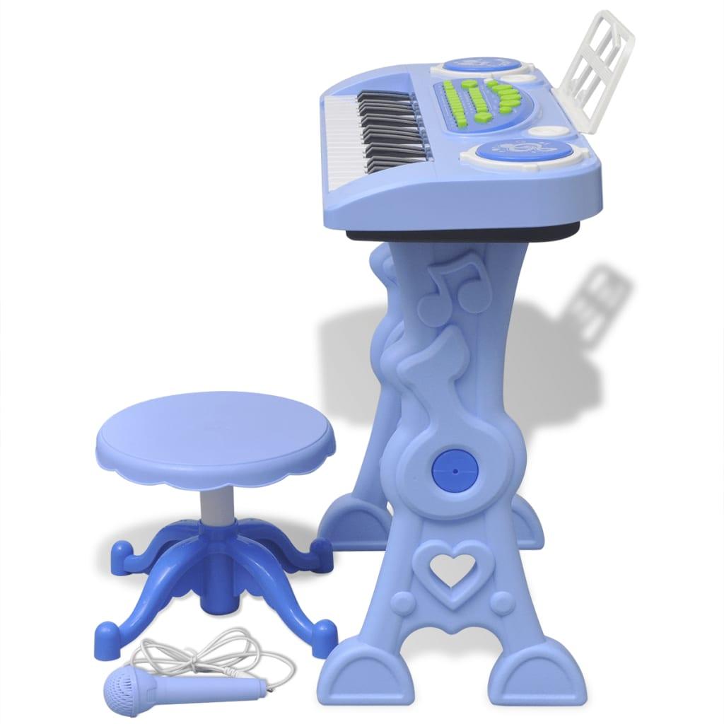 la boutique en ligne piano avec 37 touches et tabouret microphone jouet pour enfants bleu. Black Bedroom Furniture Sets. Home Design Ideas