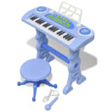 Kids' Playroom Toy Keyboard with Stool/Microphone 37-key Blue