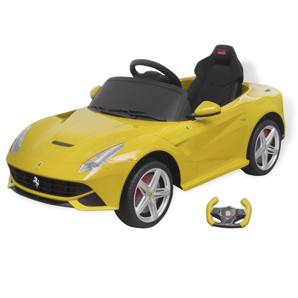 la boutique en ligne vidaxl voiture de course ferrari f12 jaune 6 v avec t l commande. Black Bedroom Furniture Sets. Home Design Ideas