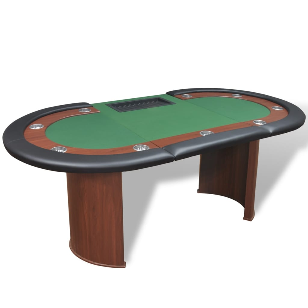 10 player poker table with dealer area and