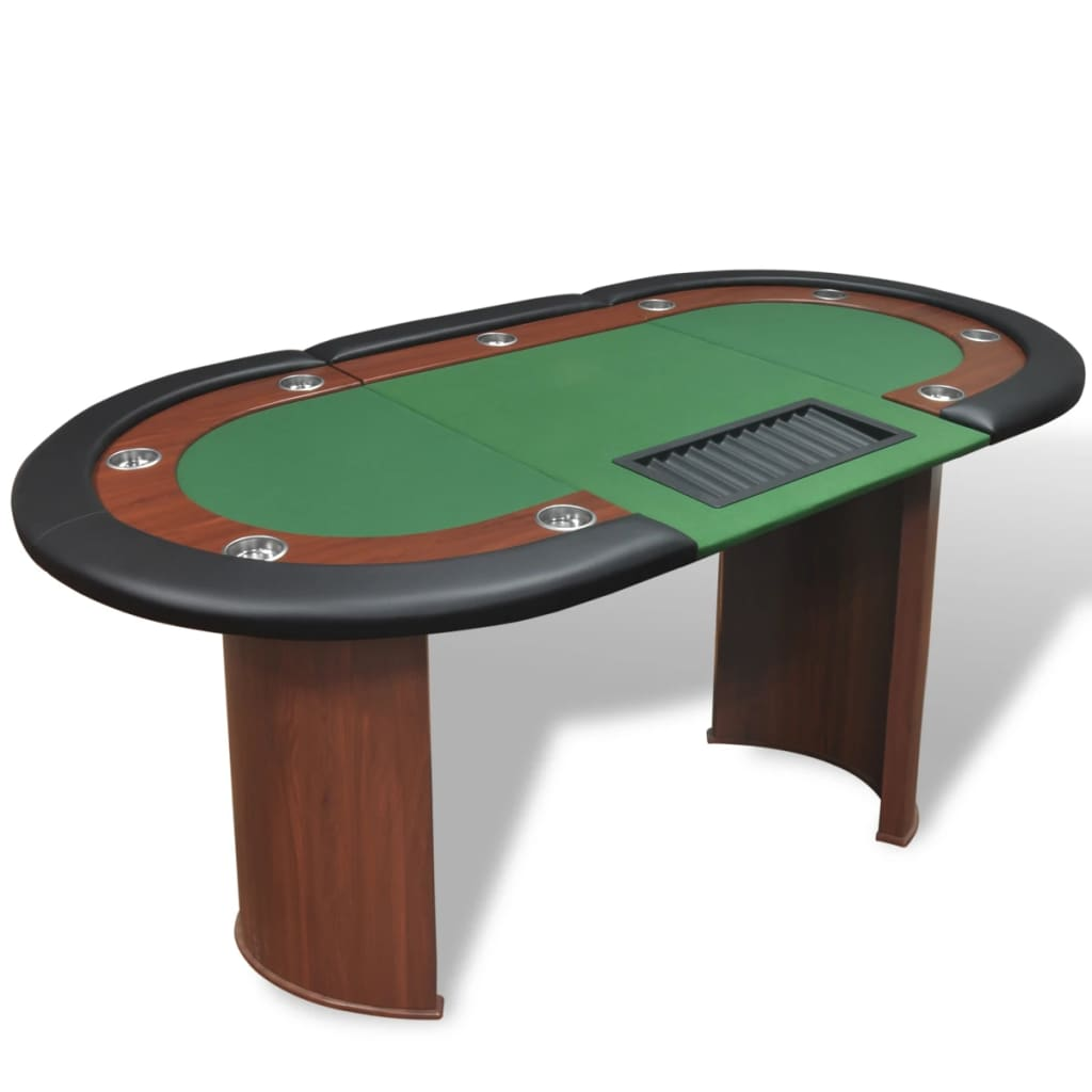 vidaXL 10 személyes pókerasztal kártyaosztó résszel és zseton tálcával zöld