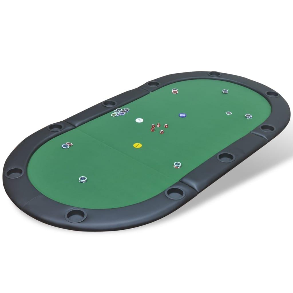VidaXL Table de poker pliable pour 10 joueurs Vert Table de jeux Table à jeux