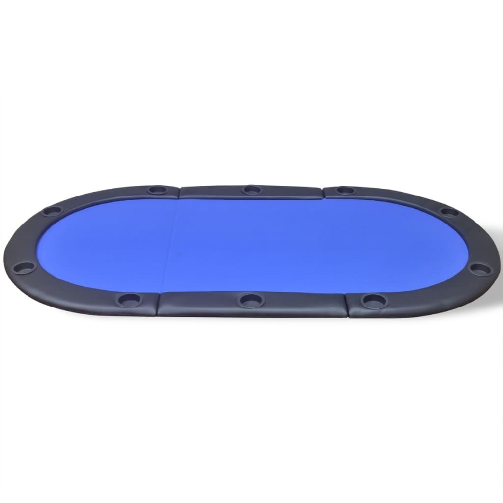 vidaXL-Superficie-Tavolo-Poker-10-Giocatori-Pieghevole-Professionale-Blu-in-MDF