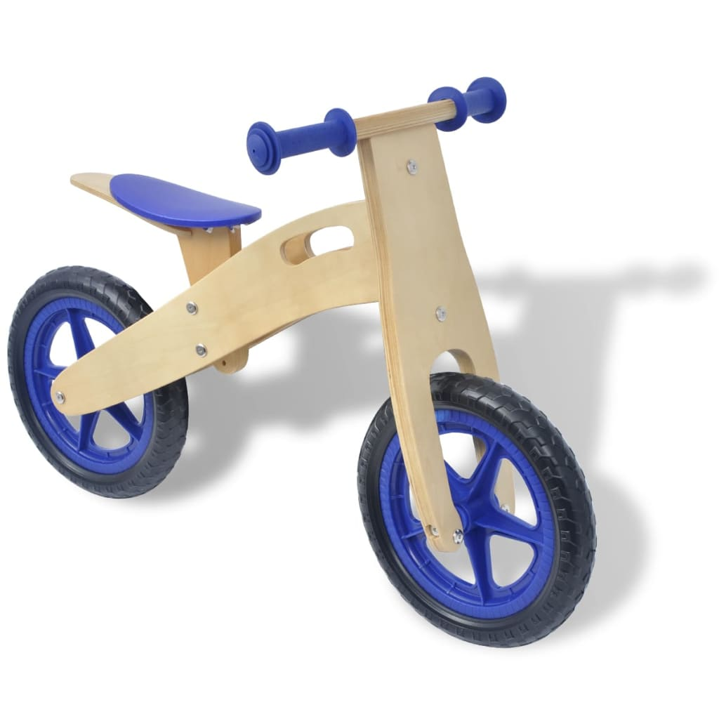laufrad holz kinderlaufrad lernlaufrad holzroller fahrrad kinderroller rot blau ebay. Black Bedroom Furniture Sets. Home Design Ideas