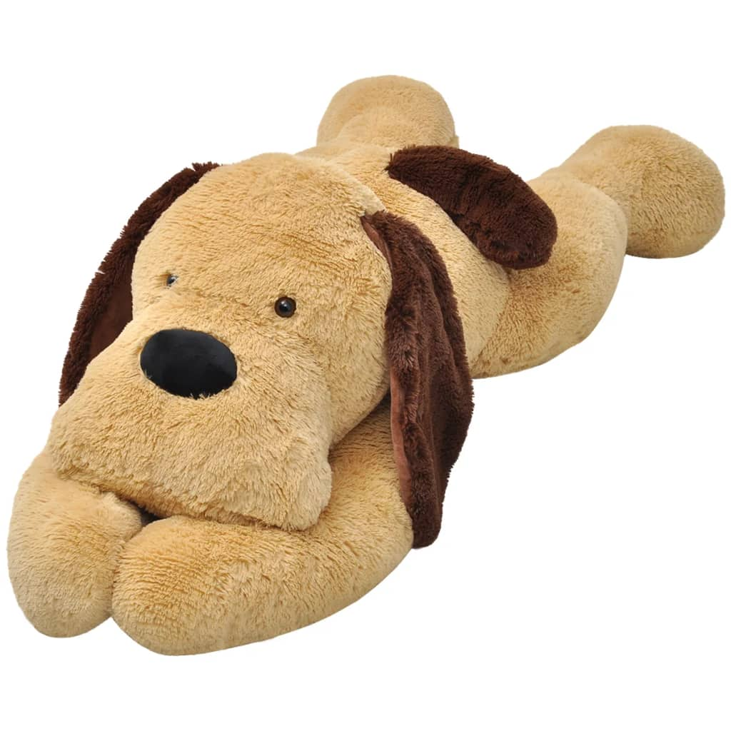 vidaxl dog cuddly toy plush brown 80 cm. Black Bedroom Furniture Sets. Home Design Ideas