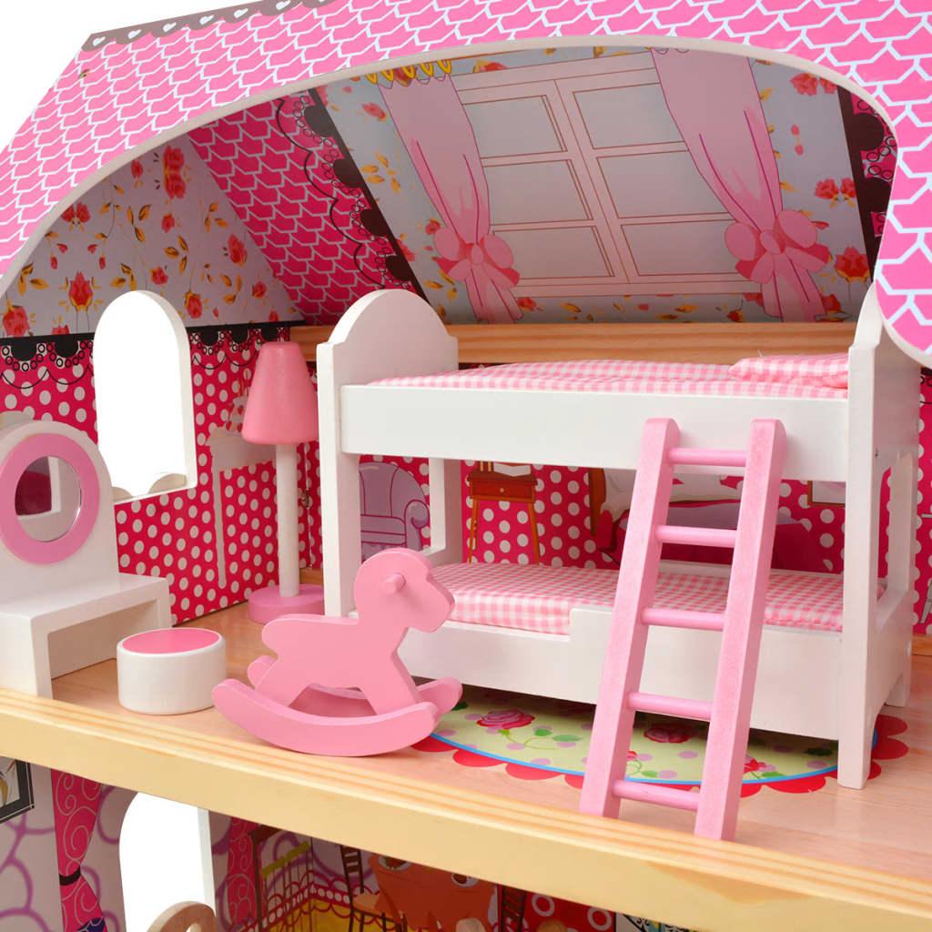 Vidaxl casa delle bambole a 3 piani in legno 60x30x90 cm for Casa a 4 piani