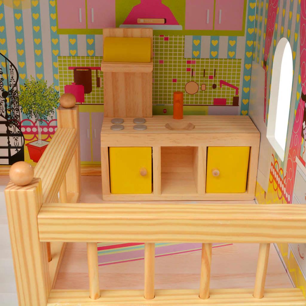 Vidaxl casa delle bambole a 3 piani in legno 60x30x90 cm for Casa a 5 piani in vendita