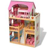 vidaXL 3-етажна къща за кукли, 60 x 30 x 90 см, дърво