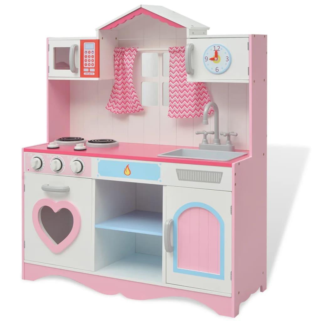vidaXL fa játékkonyha 82 x 30 100 cm rózsaszín és fehér