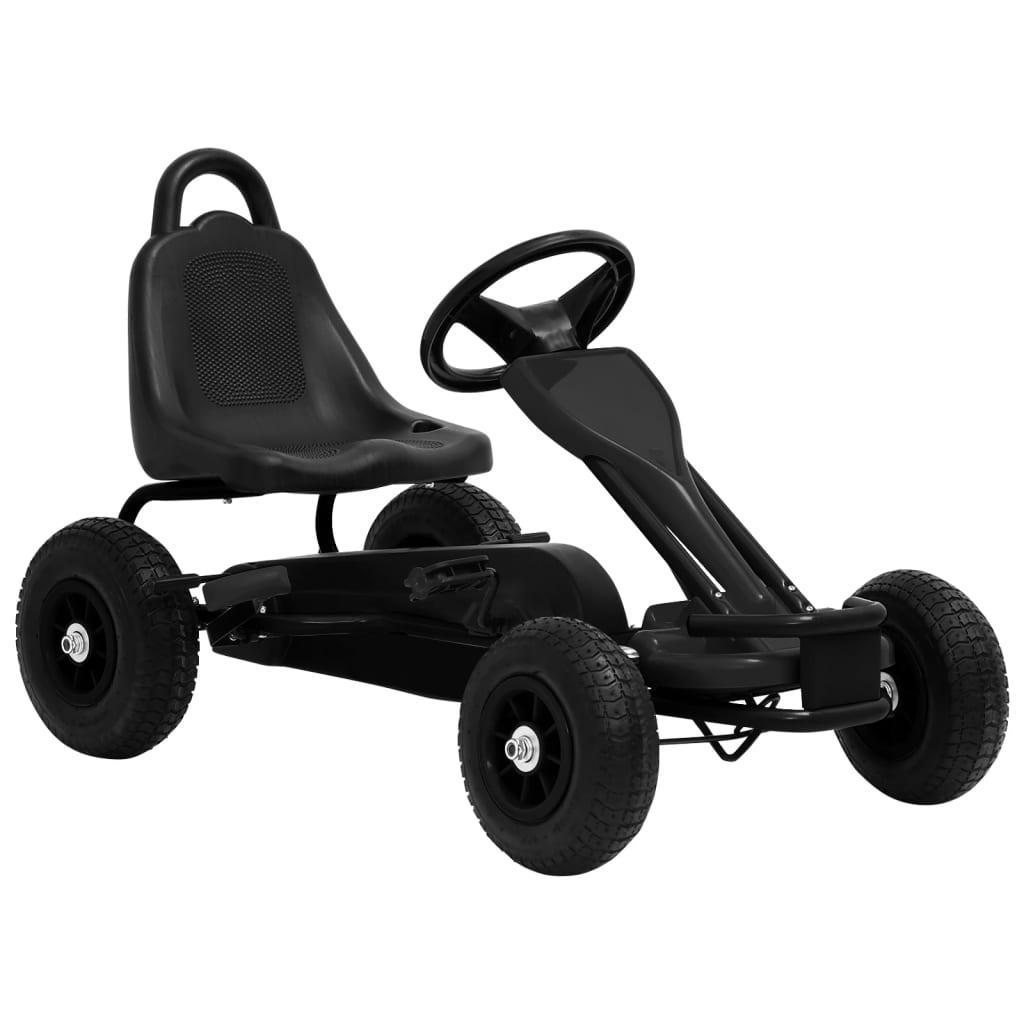 vidaXL Fekete pedálos gokart pneumatikus gumikkal
