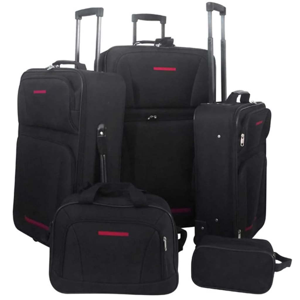 vidaXL 5 Piece Travel Luggage Set (Black)