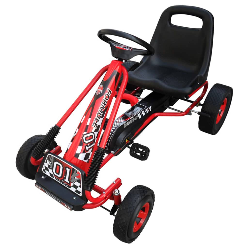 vida-xl-red-pedal-go-kart-with-adjustable-seat