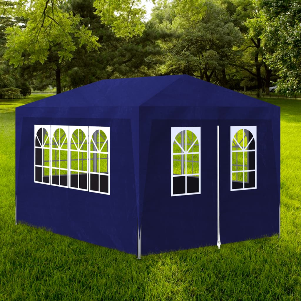 vidaXL 10' x 13' Blue Party Tent with 4 Walls