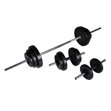 30,5kg Langhantel Kurzhantel Hantelset Gewichtscheiben[2/3]