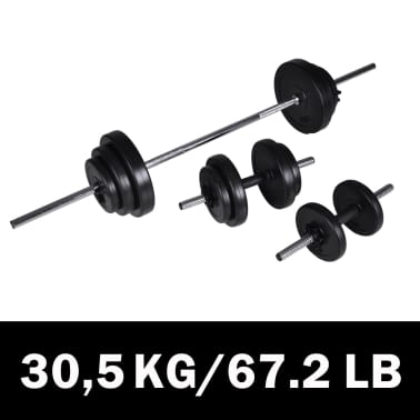 30,5kg Langhantel Kurzhantel Hantelset Gewichtscheiben[1/3]